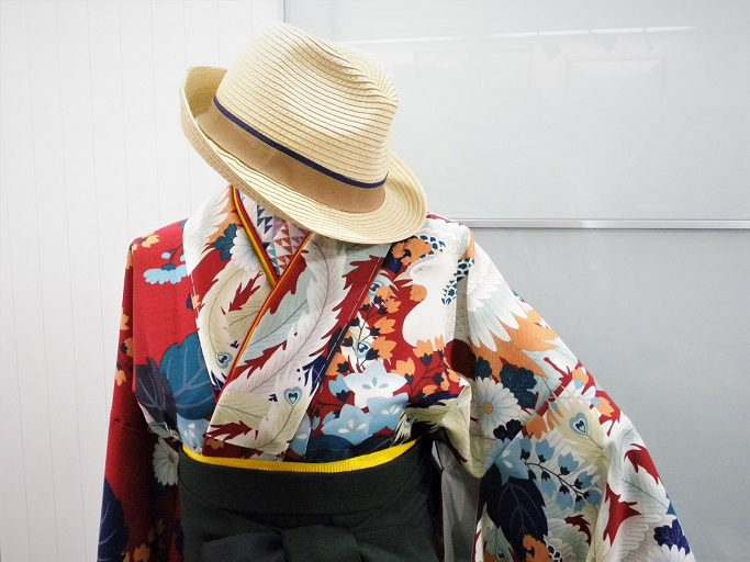 撫松庵・赤鳳凰柄のオリジナル袴用着物【hro-1004_red】|レンタル袴|大阪、日産呉服・和田甚