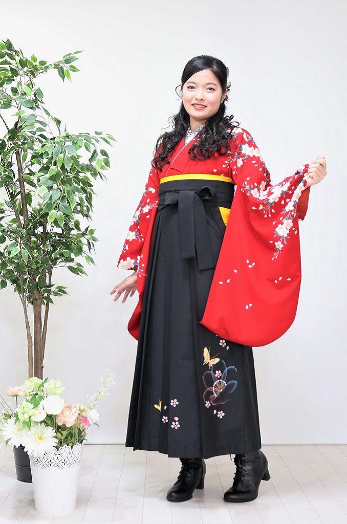 赤小桜小袖の袴用着物【h-002_red】¥30,000|レンタル袴|大阪、日産呉服・和田甚